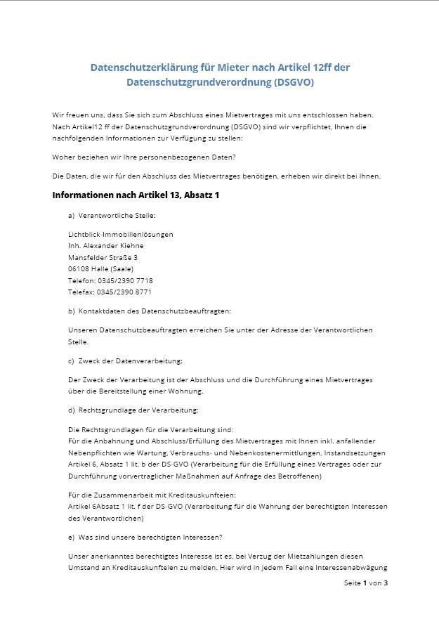 Vorschau Datenschutzrechtliche Einwilligung